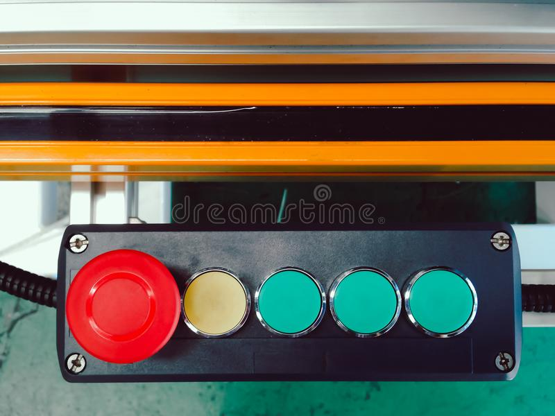Press switch button set design in block control with sensor pane. L for automation system machine use in manufacturing royalty free stock photos