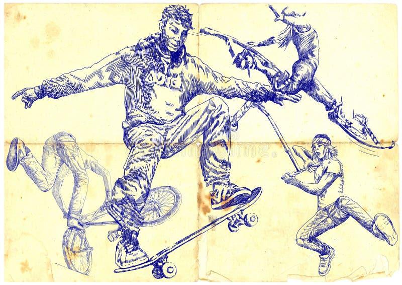 Pressa e salto ilustração royalty free