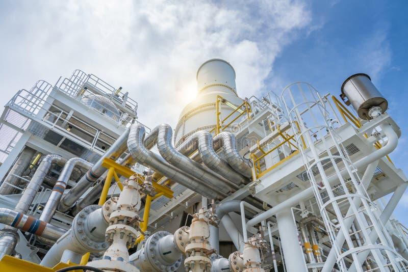 Pressa säkerhetsventilen, lättnadsventilen på sugning och urladdning av kompressorn för gasturbinen för att skydda att leda i rör royaltyfria bilder