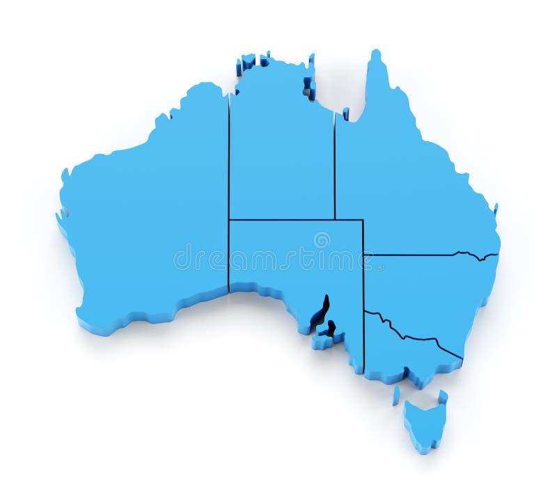 Pressad ut översikt av Australien med statsgränser vektor illustrationer