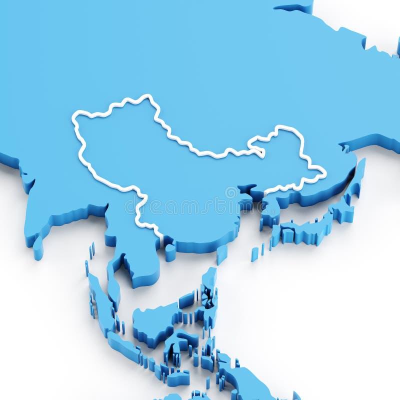 Pressad ut översikt av den Kina och Asien regionen royaltyfri illustrationer