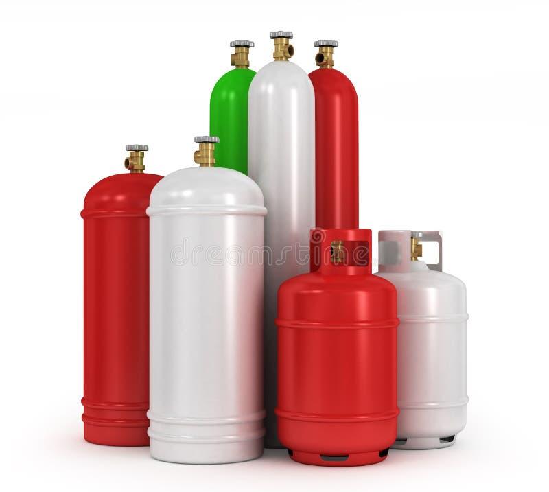 pressade samman cylindergaser stock illustrationer