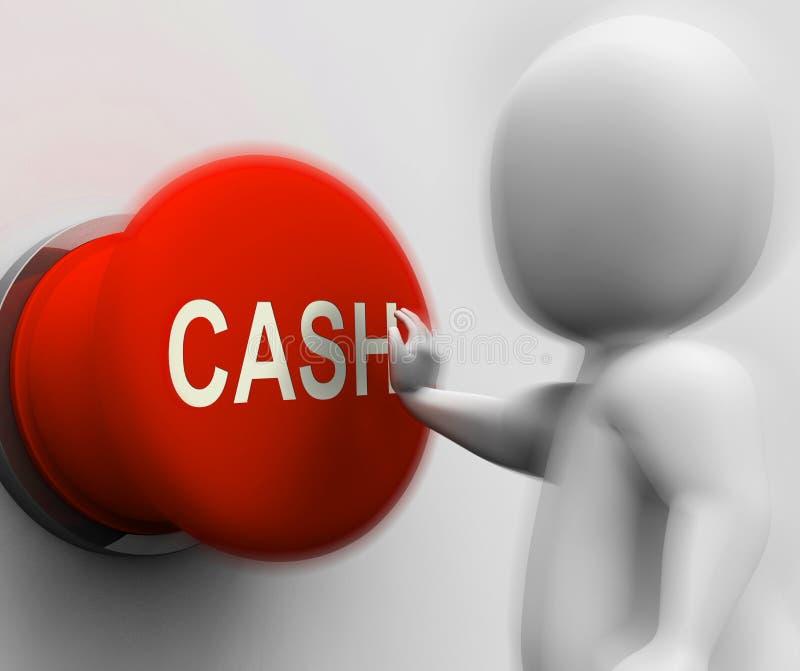 Pressande kassa visar pengarförtjänsten och utgifter stock illustrationer