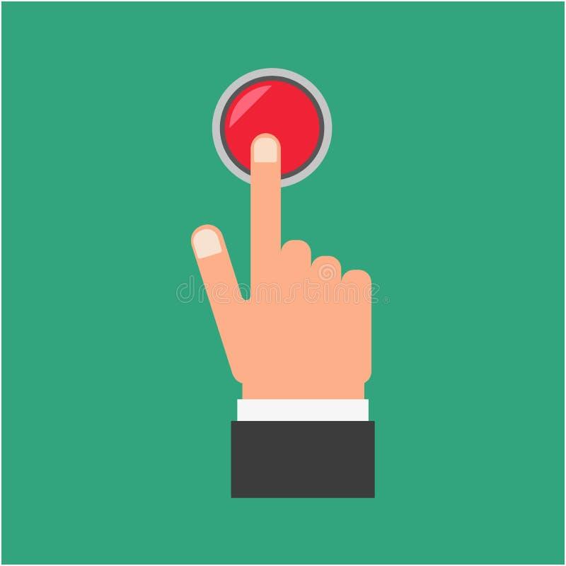 Pressatura del dito sul bottone rosso fotografie stock