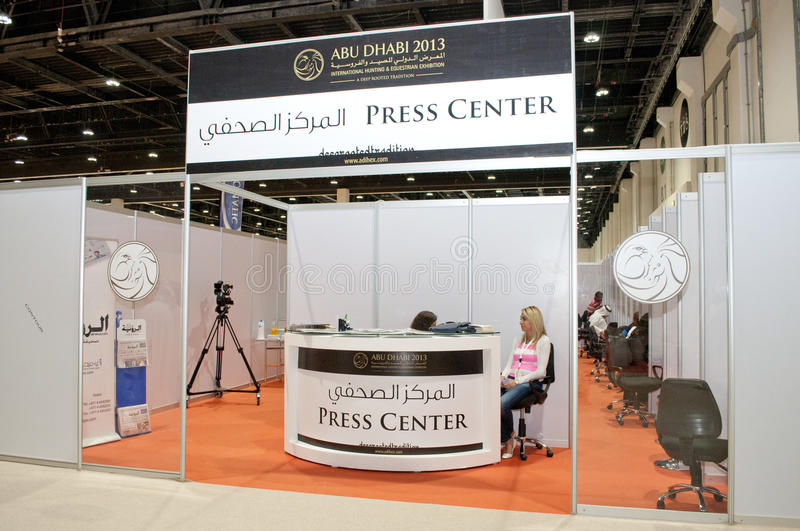 Presse-Mitte - Abu Dhabi International Hunting und Reiterausstellung 2013 stockfotografie