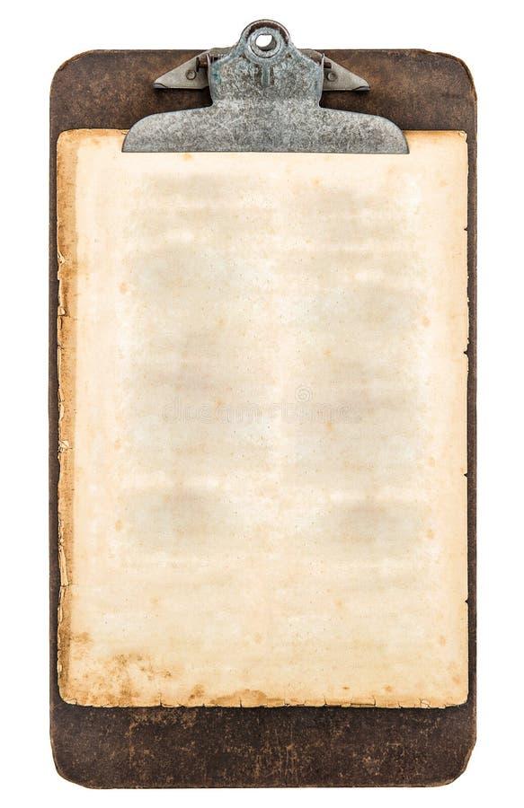 Presse-papiers antique avec la feuille de papier sale âgé images libres de droits