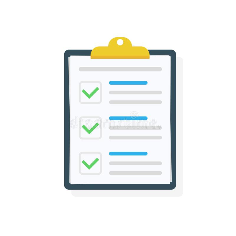 Presse-papiers avec l'icône de liste de contrôle Tâches complètes de liste de contrôle, liste de remue-ménage, enquête, concepts  illustration stock