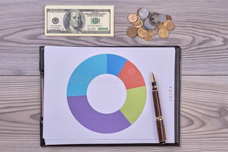 Presse-papiers avec le diagramme, le stylo et l'argent photo stock