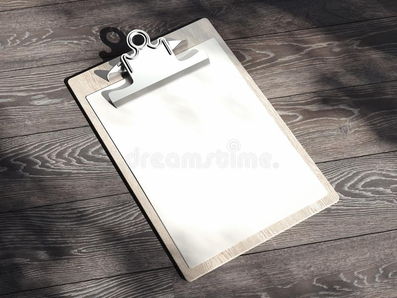 Presse-papiers avec le papier blanc d'isolement sur le fond en bois rendu 3d photo stock