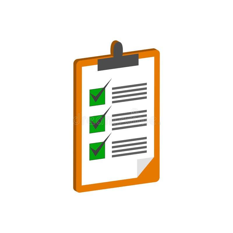 Presse-papiers avec le symbole de liste de contrôle Icône ou logo isométrique plate illustration libre de droits