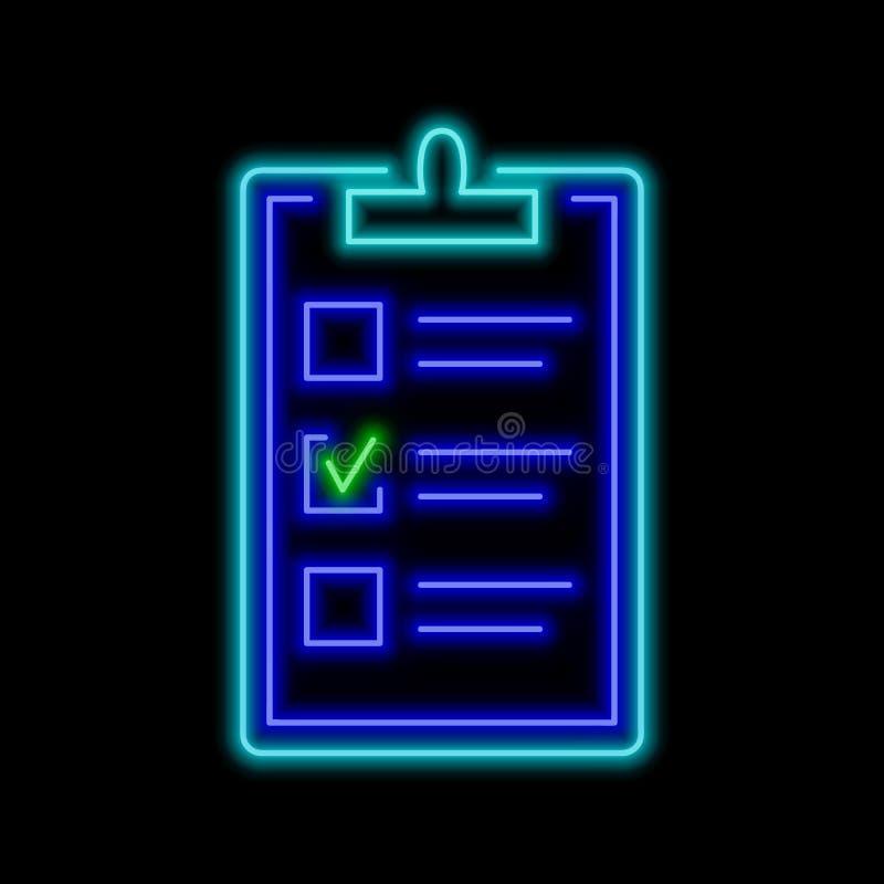 Presse-papiers avec un enseigne au néon vérifié de boîte Symbole rougeoyant lumineux illustration libre de droits