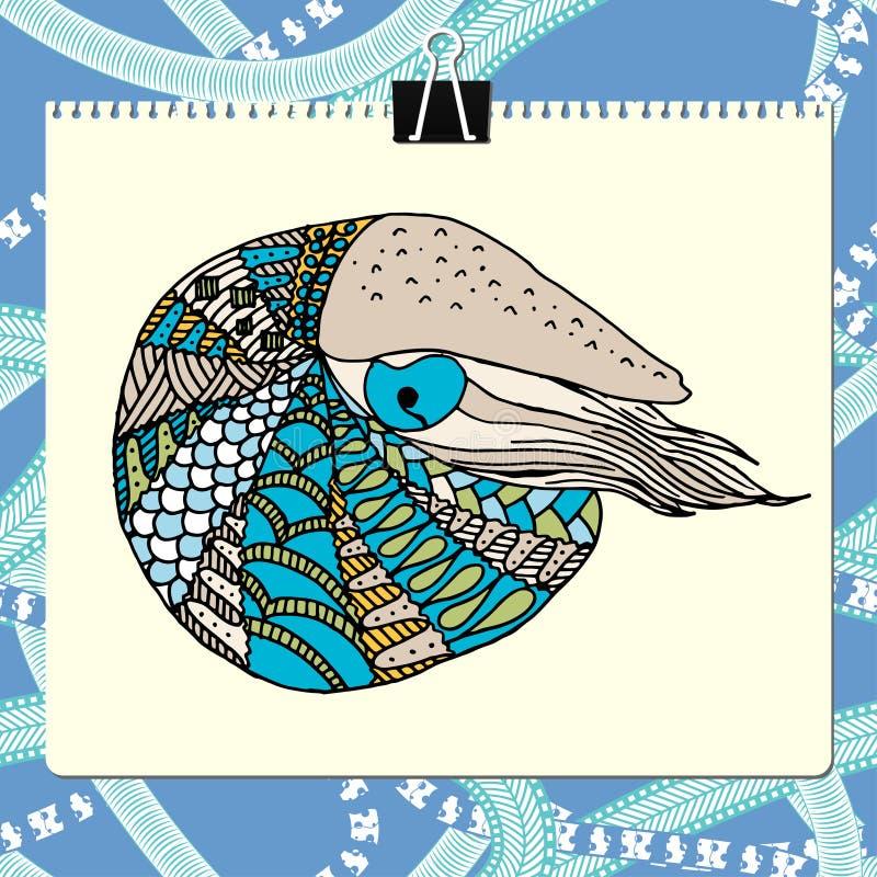 Presse-papiers et feuille de papier avec l'illustration colorée de vecteur de nautilus de zentangle Inclut le modèle sans couture illustration stock