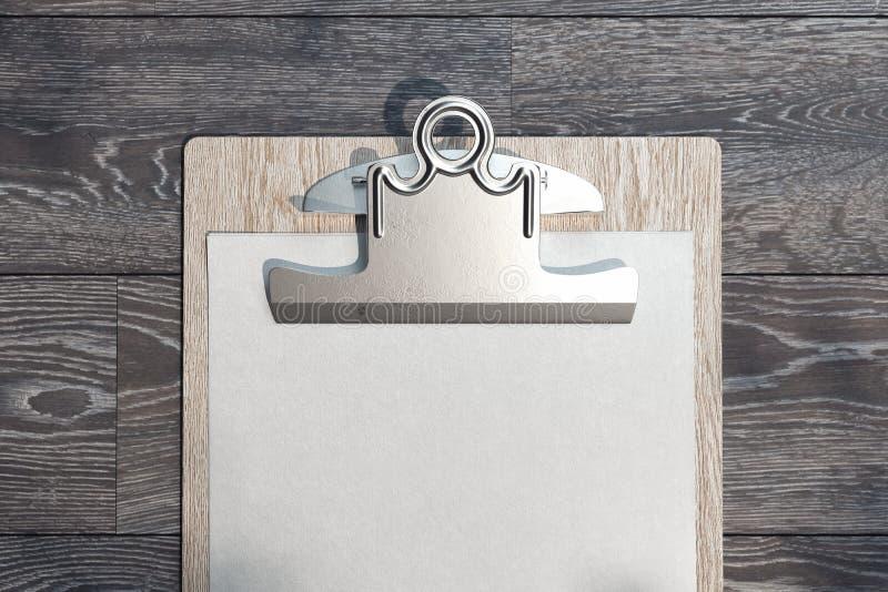 Presse-papiers r?aliste avec la feuille de papier blanc sur le fond en bois rendu 3d illustration stock