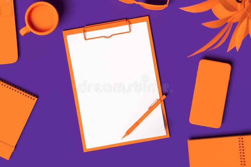 Presse-papiers réaliste orange avec la feuille de papier blanc d'isolement sur le fond violet rendu 3d illustration libre de droits