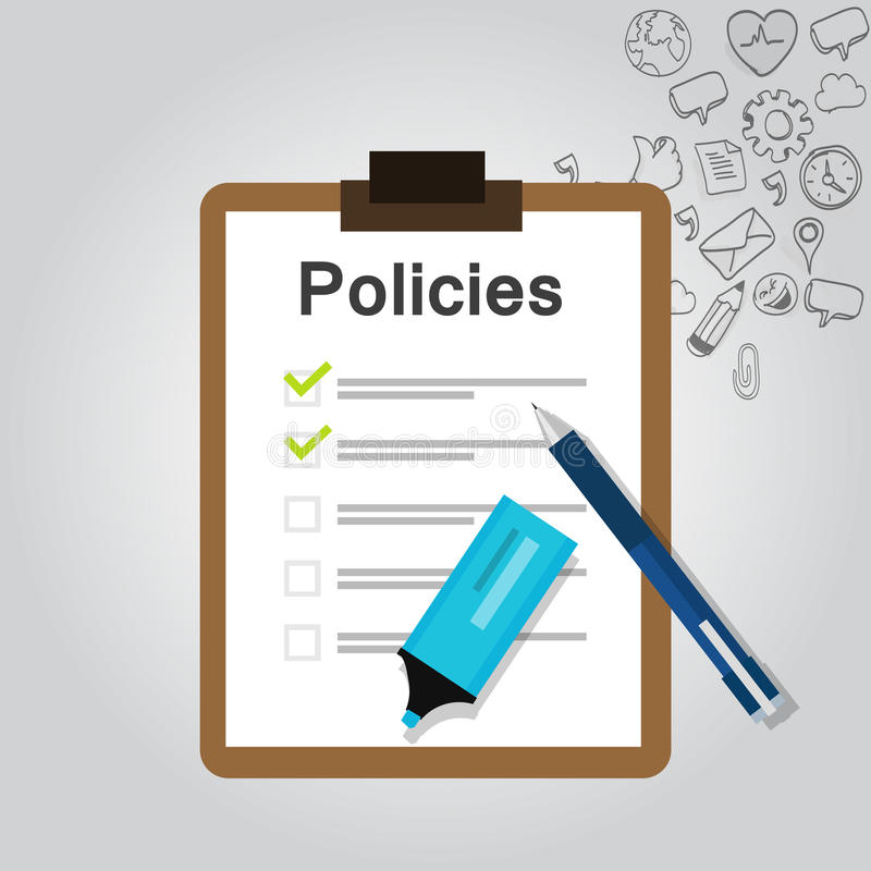 Presse-papiers réglementaire de société de document de liste de concept de politiques illustration stock