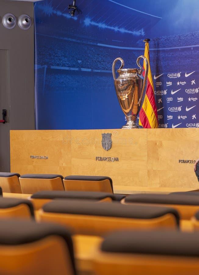 Presse-Raum an Camp Nou -Stadion lizenzfreies stockbild