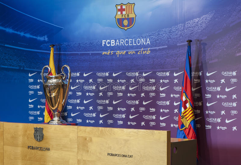 Presse-Raum an Camp Nou -Stadion lizenzfreie stockfotografie