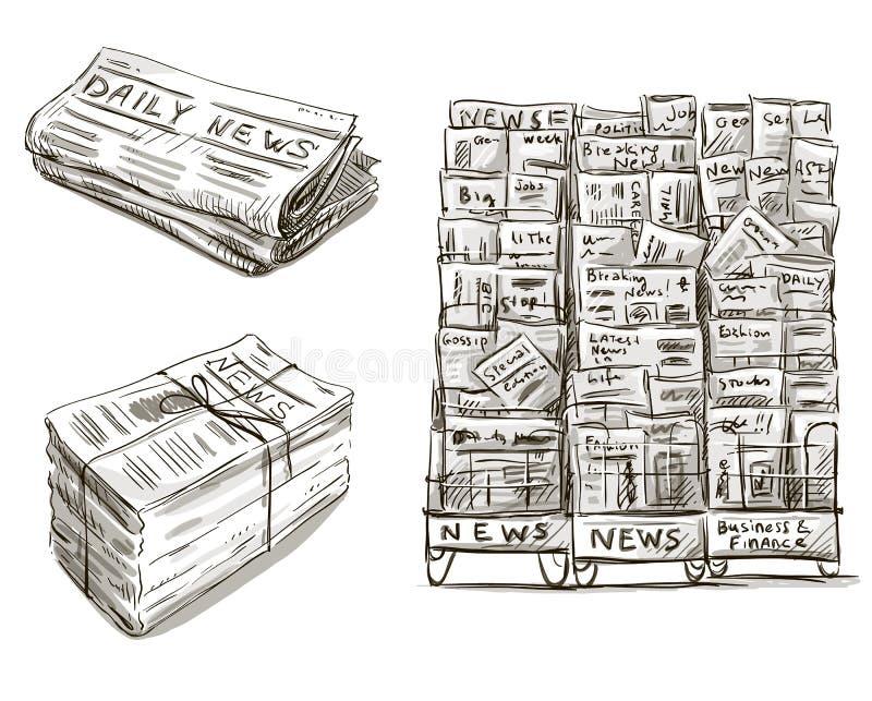 presse Support de journal Tiré par la main illustration stock