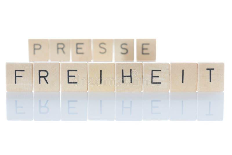 Pressefreiheit wichtig für Demokratie 'Pressefreiheit' als isoliertes Wort auf weißem Hintergrund lizenzfreie stockfotos