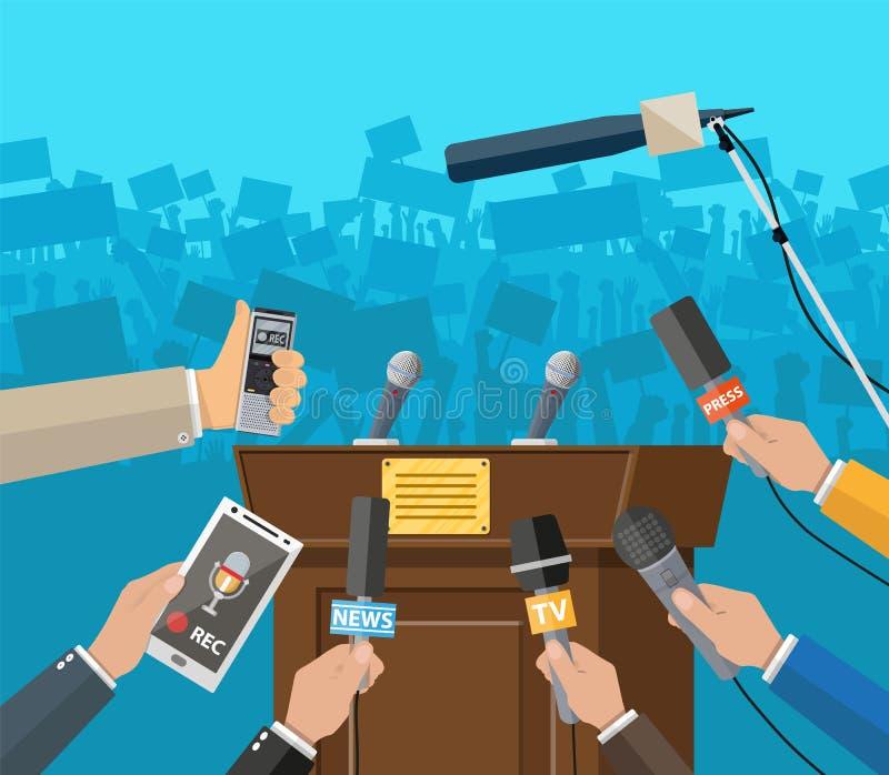 Pressekonferenzkonzept, Nachrichten, Medien, Journalismus stock abbildung