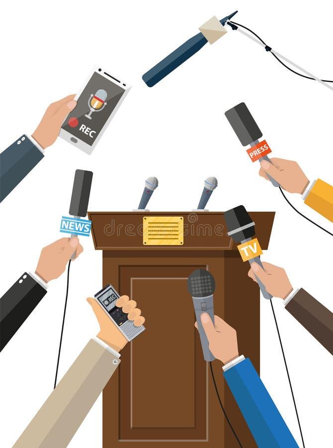 Pressekonferenzkonzept, Nachrichten, Medien, Journalismus vektor abbildung