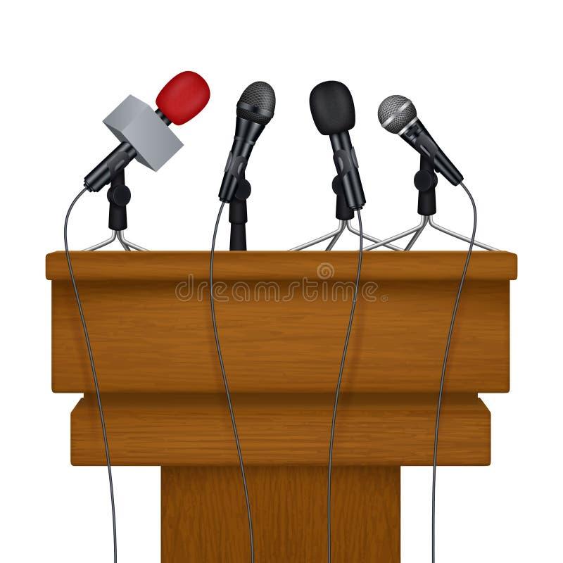 Pressekonferenzstadium Realistische Bilder des SitzungsNachrichtenmedium-Mikrofonvektors lizenzfreie abbildung