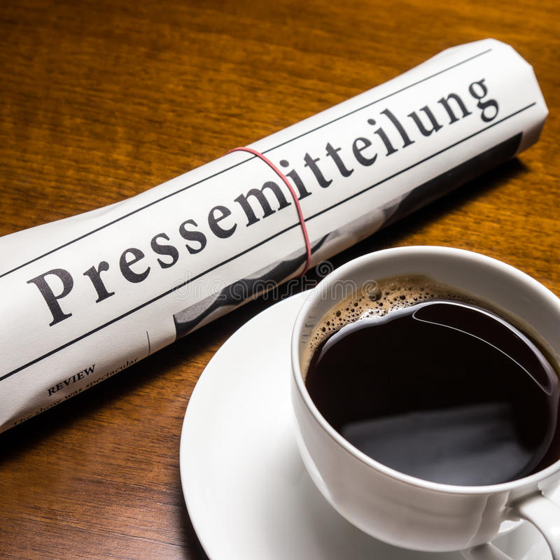 Pressemitteilung, cup of coffee royalty free stock photography