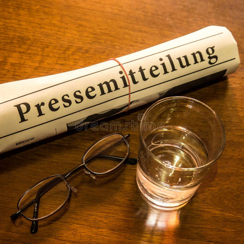 Pressemitteilung newspaper royalty free stock photography