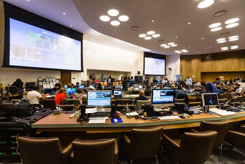 Pressez le centre de la soixante-et-onzième session des Nations Unies photo stock