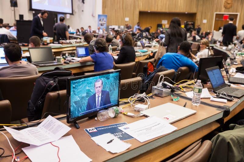 Pressez le centre de la soixante-et-onzième session des Nations Unies photo libre de droits