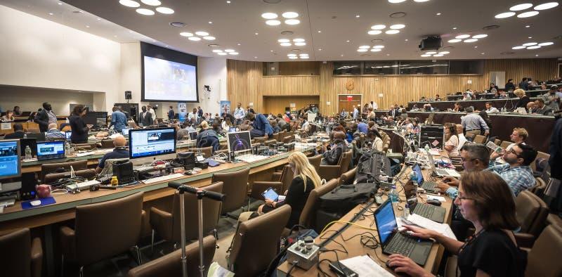 Pressez le centre de la soixante-et-onzième session des Nations Unies image stock