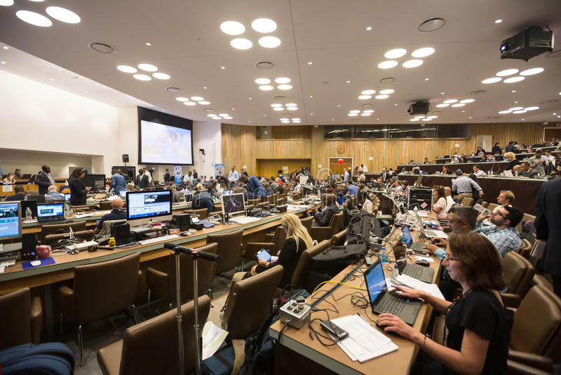 Pressez le centre de la soixante-et-onzième session des Nations Unies photos stock