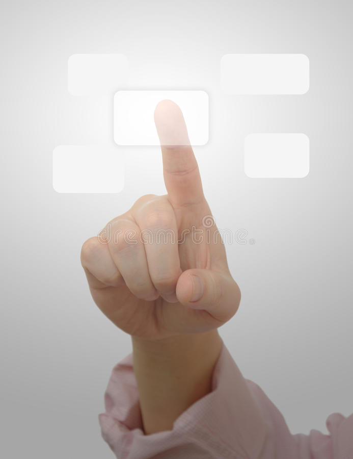 Pressing button on touch screen. Business pressing button on touch screen royalty free stock photography