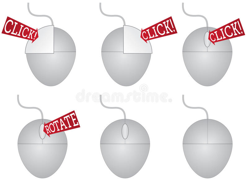 Pressing the buttons of a computer mouse. Illustration showing the button choices computer mouse stock illustration