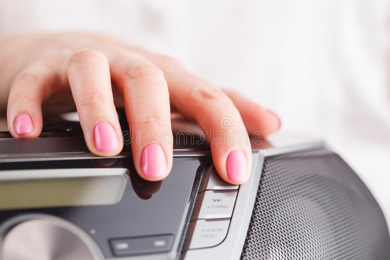 Pressing the eject cd button from the media player royalty free stock photography