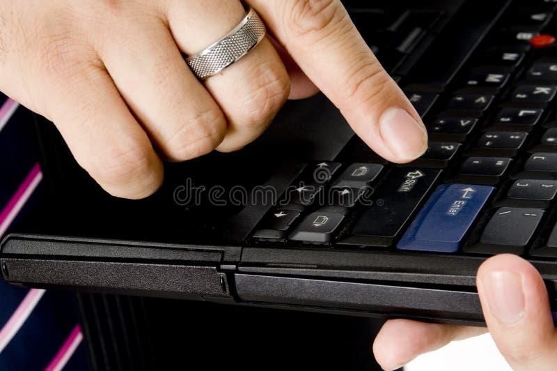 Download Pressing Enter stock photo. Image of pink, computer, shirt - 1649580