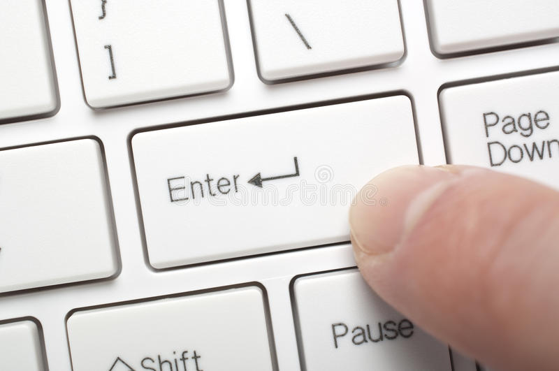 Pressing enter key royalty free stock image