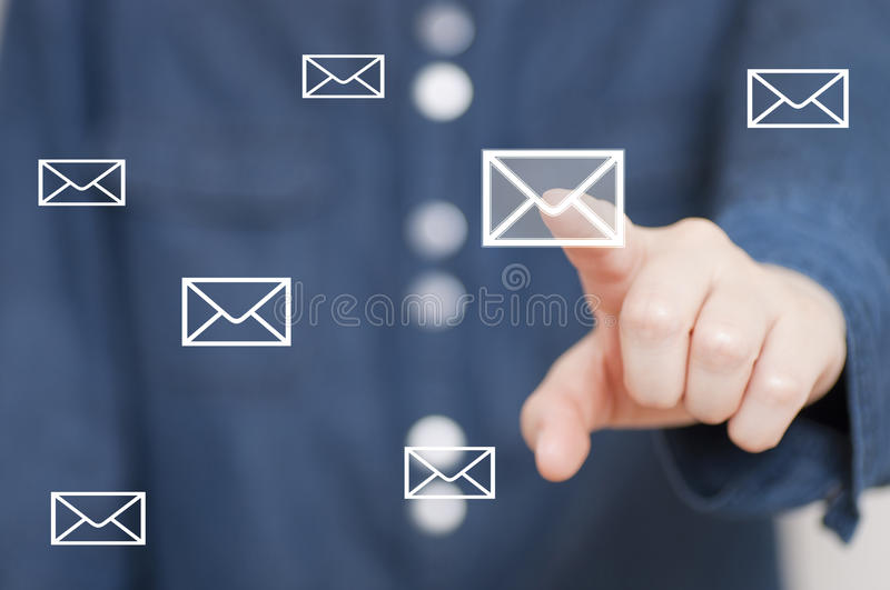Pressing envelope button royalty free stock photography