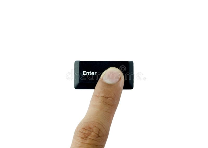 Pressing Keyboard button command Enter stock photography