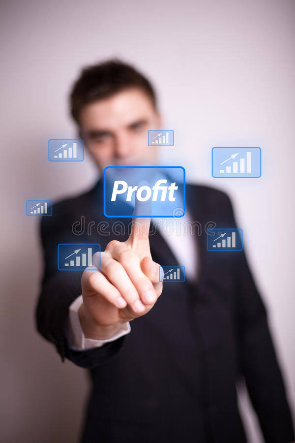 Pressing profit icon with one hand stock photo