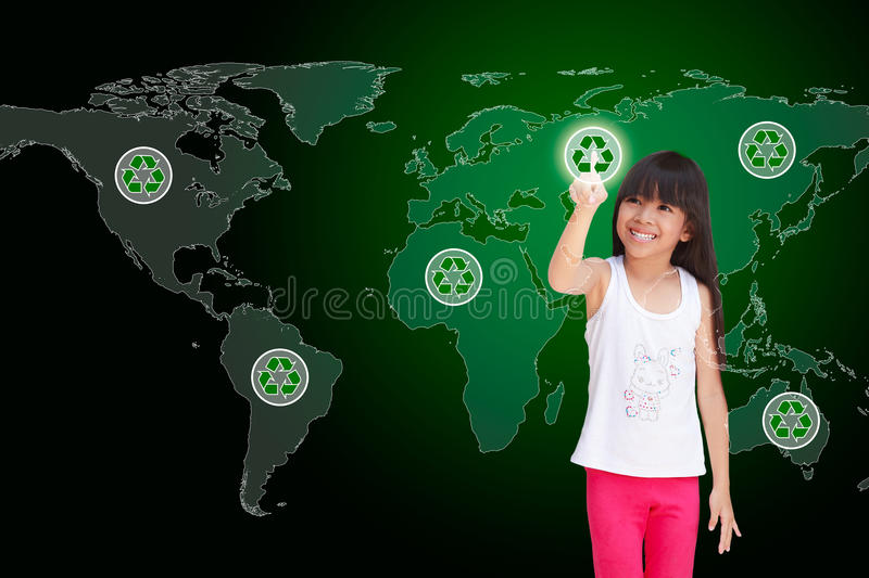 Download Pressing recycle icon stock image. Image of asian, girl - 24438539
