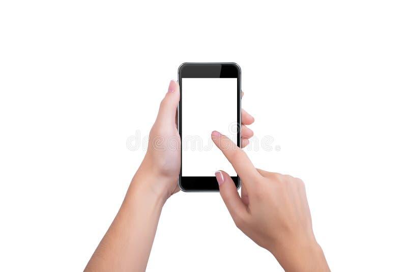 Pressiona o dedo preto da tela do telefone de uma mão imagens de stock