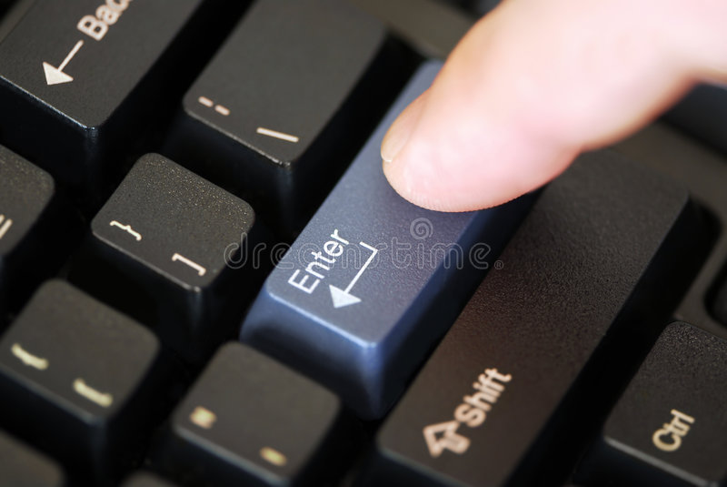 Pressionar incorpora a chave foto de stock