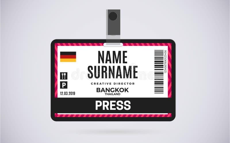 Pressione a ilustração plástica do projeto do vetor do crachá do cartão da identificação ilustração royalty free