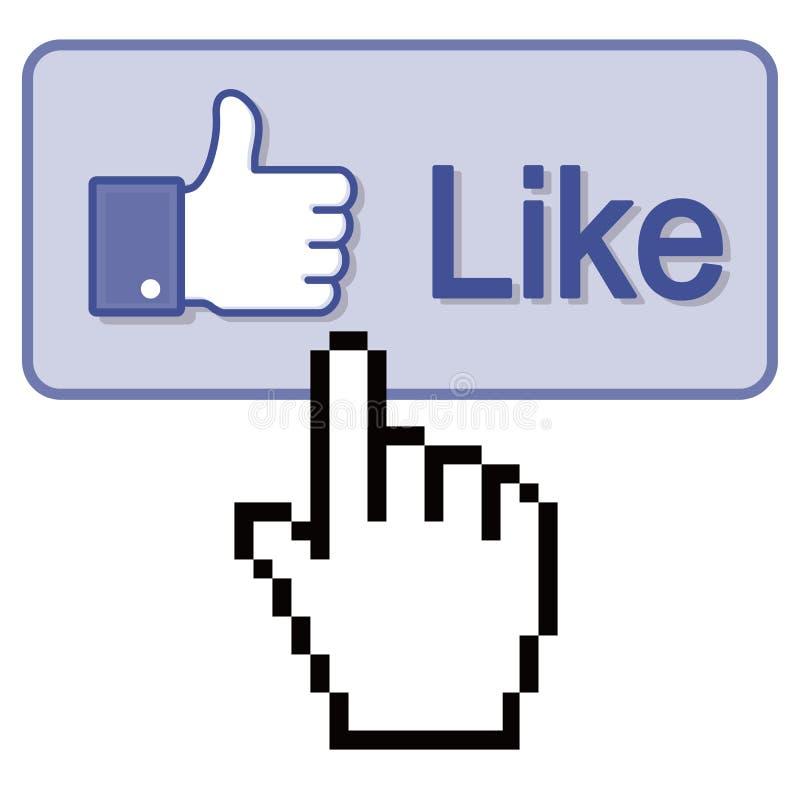 Pressione o polegar acima como o botão ilustração stock