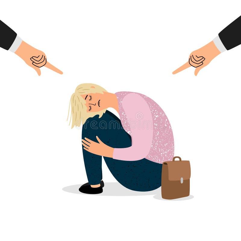 Pressione parentale sull'adolescente, concetto d'oppressione di vettore Allievo depresso illustrazione vettoriale