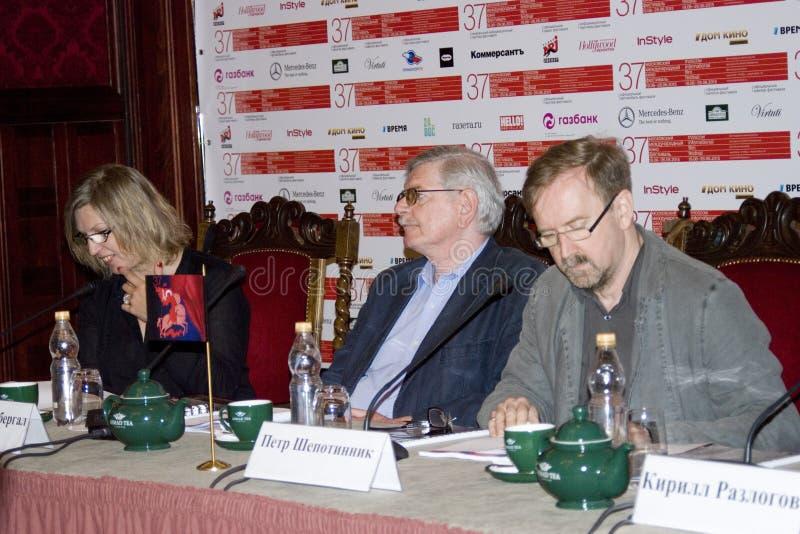 Presskonferens av den 37th MoskvaInternationalfilmfestivalen royaltyfria bilder