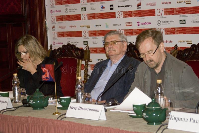 Presskonferens av den 37th MoskvaInternationalfilmfestivalen arkivfoton