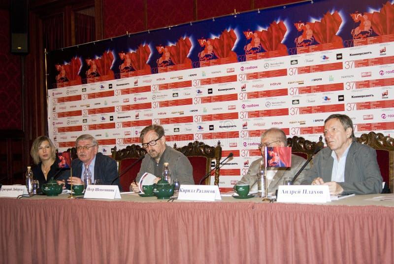 Presskonferens av den 37th MoskvaInternationalfilmfestivalen arkivfoto