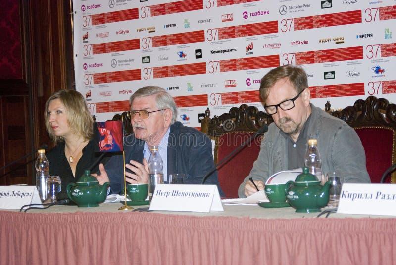 Presskonferens av den 37th MoskvaInternationalfilmfestivalen royaltyfria foton